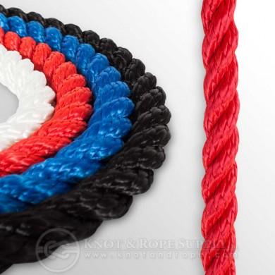 Въже сукано 3-жилно полиестер червено ф10-24мм