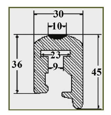 Буртик за лодка PVC 30х45мм