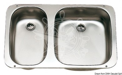 Мивка двойна inox 575x370mm