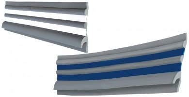 Буртик за надуваем борд  PVC сив с бели/сини вложки